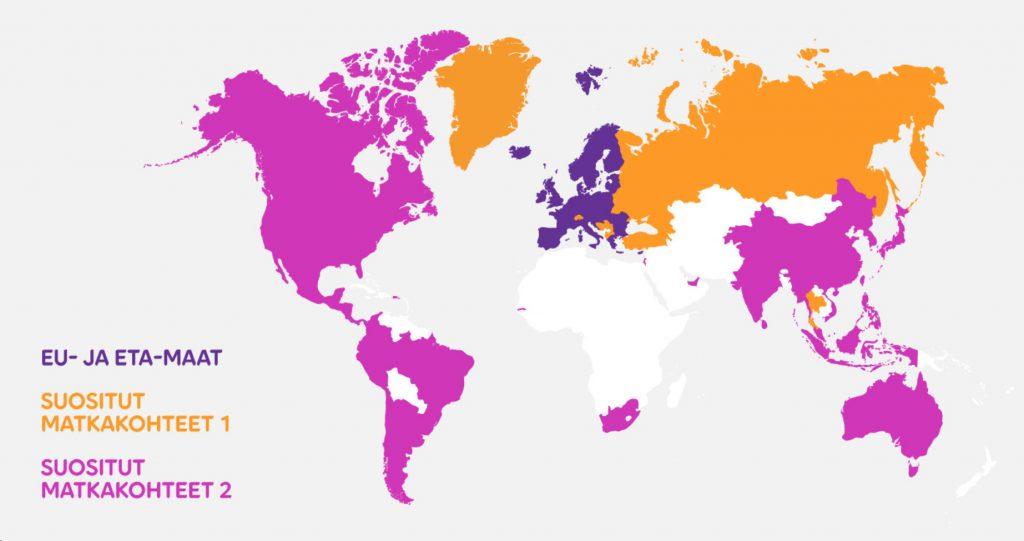 EU- ja ETA-maat sekä suositut matkakohteet kartalla